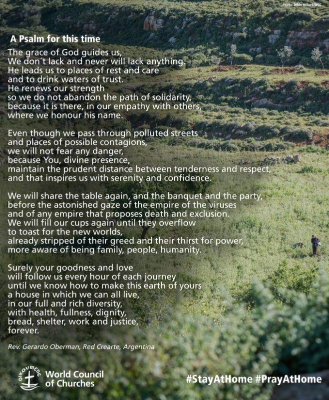 Kuvassa psalmin alkuperäinen julkaisu, jossa teksti vihreän maiseman päällä.