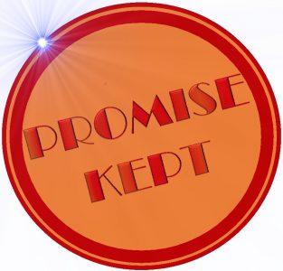 Kuvituskuvassa leima, jossa lukee Promise kept (suom. Lupaus pidetty)