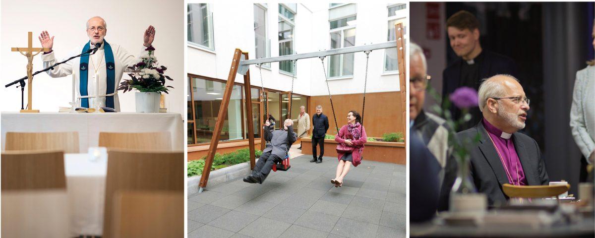 Piispa Simo Peura siunaa käyttöön uuden Silmu-tilan ja keinut Reimarin sisäpihalla. Piispa keskustelee yrittäjien kanssa.