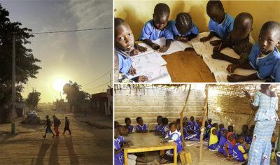 Kolme kuvaa Senegalista. Kolme lasta auringonlaskua vasten, kuusi lasta koulutehtävien ääressä, yleiskuva koululuokasta, etualalla opettaja.