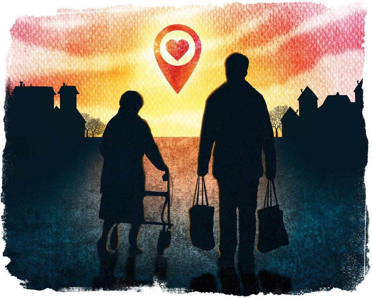 Kuvituskuvassa mies kantaa kauppakasseja ja nainen kävelee rollaattorin avulla.