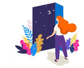Piirroskuvassa pitkähiuksinen ihminen on avoimen oven ääressä. Ovesta näkyy tumma tähtitaivas.