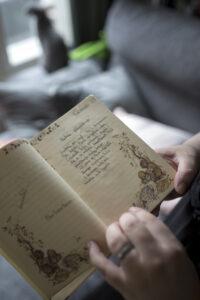 Päiväkirjan aukeama.